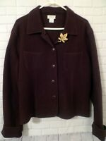 Womens Willi Smith Collection Size L 100% Wool Chocolate Brown Jacket with Pin