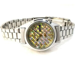Citizen Japan Automatic Day Date Designer Rainbow Dial Ladies Rare Watch 26mm