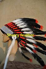 Black indian feather headdress indian war bonnet american costume H16009