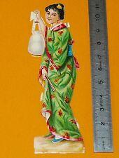 RARE CHROMO 1880-1890 DECOUPI DIE CUT JAPONAISE GAÏSHA JAPON NIPPON JAPAN