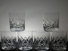 LARGE LEAD CRYSTAL CUT GLASS CRISS CROSS WHISKY SPIRIT TUMBLERS WHISKEY SET OF 6
