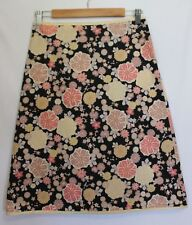 MAIOCCHI ~ Japanese Cherry Blossom Black Pink Yellow Cotton A-Line Skirt 8