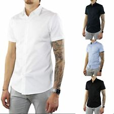 Camicia Uomo Slim Fit a Manica Corta Cotone Mezza Manica Elegante Classica