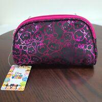 Disney Tsum Tsum Round Clutch Bag Makeup Toiletries Purse Zip Pink