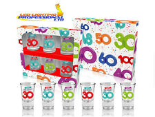 """SHOT GLASSES """"30th BIRTHDAY"""" BALLOONS SERIES SET OF 6 GLASSES GIFT PRESENT PARTY"""