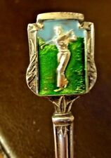 Superb Vintage Silver Plate & Enamel Golfing Spoon by Ancora EPNS England.