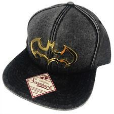 DC Comics Batman Metal Front Badge Snapback Hat Washed Black Character Cap