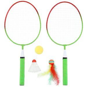Badmintonset Kinder 2 kurze Schläger 2 Federbälle Federballspiel Badminton