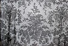 19th c.Civil War Black French Chantilly Lace Triangular Crinoline Shawl Mantilla