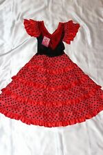Le Ragazze Fancy Dress-Ragazze Carino Spagnolo Vestito in Rosso e Nero per adattarsi età 8 anni