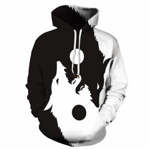 Women Men 3D Print Hoodies Pullover Sweatshirts Tai Chi Wolf Harajuku Casual