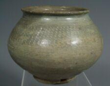 Thai Thailand Sukhothai Sawankhalok Celadon Fishnet Decor Pottery Bowl 13-14th c