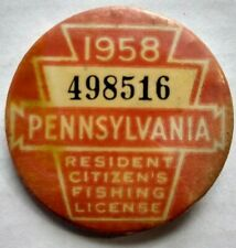 1958 Pennsylvania Residents Fishing License Vintage Pinback Pin Button