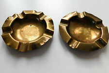 "2 small brass ash trays vintage metalware for pub cafe bar or home 3.5"" diameter"