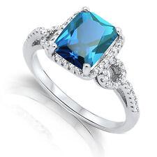 Large Emerald Shape Blue Topaz CZ Silver Ring Size 4 - 12