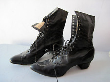 Pair of antique Victorian black leather heeled lace up Boots