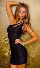 Mini Kleid Gogo One Shoulder Partykleid Gr. S M 34 36 38 neu schwarz sexy Dress