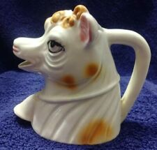 New listing Vintage Mid-century Porcelain Cow Creamer #4 Curly Cow Head With Bell