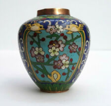 """Vintage Or Antique Chinese Cloisonne Vase 2 3/8"""" Tall With Birds & Floral Motif"""