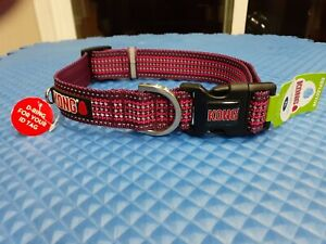 """KONG X- LARGE DOG COLLAR REFLECTIVE MARON XL NECK SIZE 20""""-28 INCHES BRAND NEW!!"""