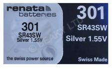 Genuine Renata 301 SR43SW Silver Oxide Watch Battery 1.55v [1-Pack]