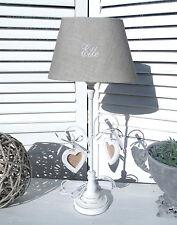 Tischleuchte Holz LUGANO Lampe E27 Grau&Weiß bestickt Designer Landhaus Shabby