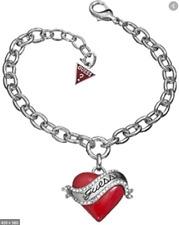 Guess SS Red Logo Heart Charm Bracelet UBB81111