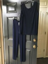 New 2pc Chicos Travelers Empress Blue Navy No Tummy Pant Tank Top 3 P Petite NWT