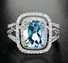 Certified 3.60Ct Aquamarine Cushion Cut Engagement Ring In 14K White Gold.