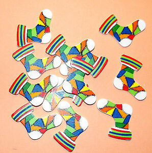 12 Flat Wooden Colourful Christmas Stocking Card Topper Embellishments