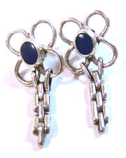 Lapis Designer Post Earrings Handmade Taxco .925 Sterling Silver Elegant