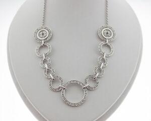 "NEW Genuine Diamonds Solid 14k White Gold Circle Pendants 16"" Necklace"