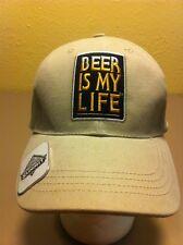 Tan/beige  Beer Is My Life  Bottle Opener Baseball Cap Party Hat Nice Hat Euc