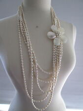 "MOTHER OF PEARL BROCH HANDMADE MULTI STANDS PEARL SILVER  STATEMENT 38 ""NECKLACE"