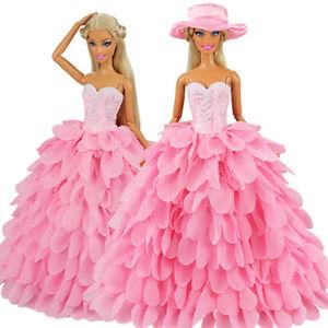 Barwa High quality Pink Leaf Cake Dress + Hat For Barbie Doll