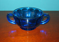 Cobalt Blue Depression Glass MODERNTONE?  SUGAR BOWL with Silver Rim