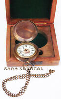 Nautical Pocket Watch Brass Antique Chain With Wooden Box Collectible Item