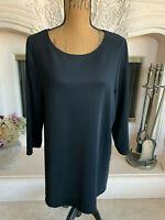 "Sz XL Susan Graver Black 3/4 Sleeved Top ""Liquid Knit"" Shirt QVC Flawless!"