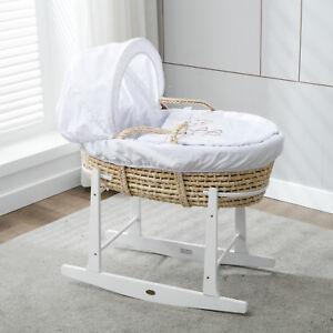 MCC®Full Set Natural Palm Moses Basket With Mattress,Bedding sets&Rocking Stand