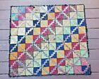 Antique Rug Handmade Zig Zag Bright Pattern Square 39x36 Old Estate Knotted Hook