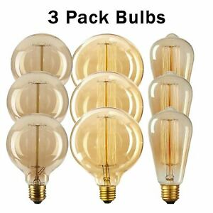 Vintage Retro Filament 3-Pack LED Edison Bulb Dimmable E27 Decorative 40/60W