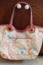 Coach Multicolor Beach Print Nylon Tote w/Pink Patent Leather Trim Shoulder Bag