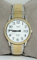 Mens Timex Indiglo Stainless Two Tone Stretchy Bracelet Easy Reader Watch C2
