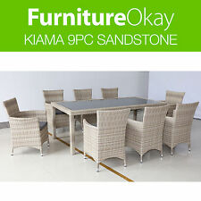 Kiama 9pc Outdoor Garden Dining Table Chair Sandstone Wicker Furniture Setting