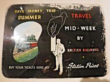 "Rare, genuine 1960s ""BRITISH RAILWAYS"" Buy Your Tickets Here GLASS SIGN"