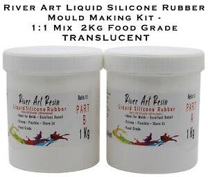 River Art Liquid Silicone Rubber Mould Making 1:1 Mix 2Kg Food Grade Translucent