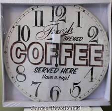 """GIANT 22"""" FRESH BREWED COFFEE OLD DINER CLOCK HUGE XL LARGE Vintage Look  WOOD ~"""