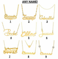 Personalized ANY NAME PLATE Pendant Necklace Chain 14KGold Plated Silver Plated