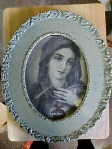 Holy Mother Mary Antique Art Vintage 1860s