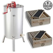 2 Bee Hive Frame Honey Extractor with 2 Complete Super Beehives - GL-E2-2S